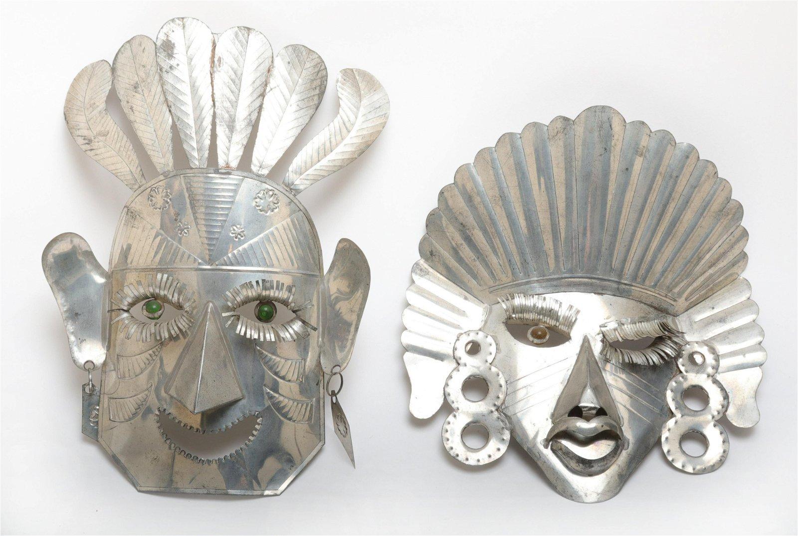 Mexican Mask Wall Sculptures, 2 Pcs.