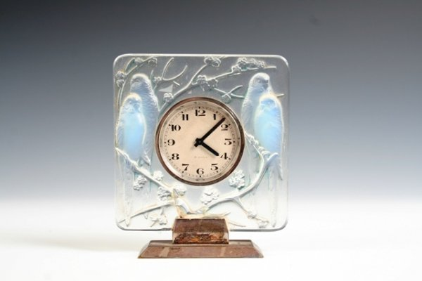2001: Early Lalique Art Glass Standing Mantle Clock
