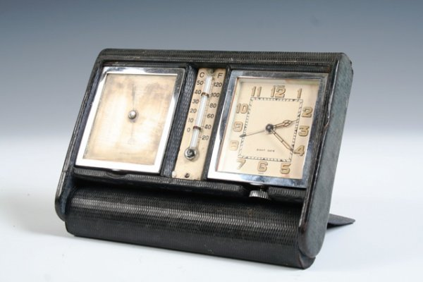 2006: Le Coultre Art Deco 1930 Travel Clock Barometer