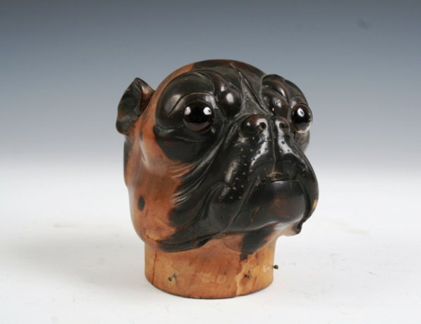 2024: Turn of The Century Wooden Pug Bust circa 1910