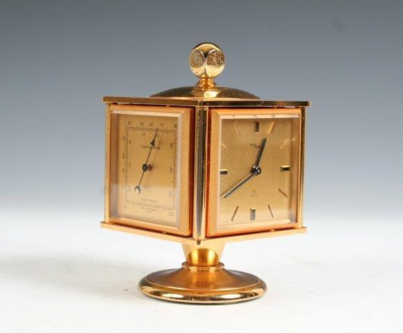 2030: Imhof Brass Desk Clock & Barometer Circa 1950