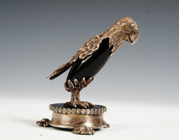 2032: Cartier Sterling Silver & Onyx Parrot Circa 1940