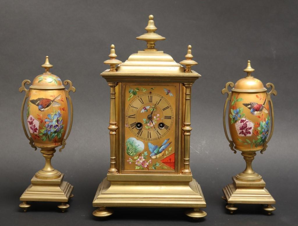 Japy Freres French Bronze & Porcelain Clock Set