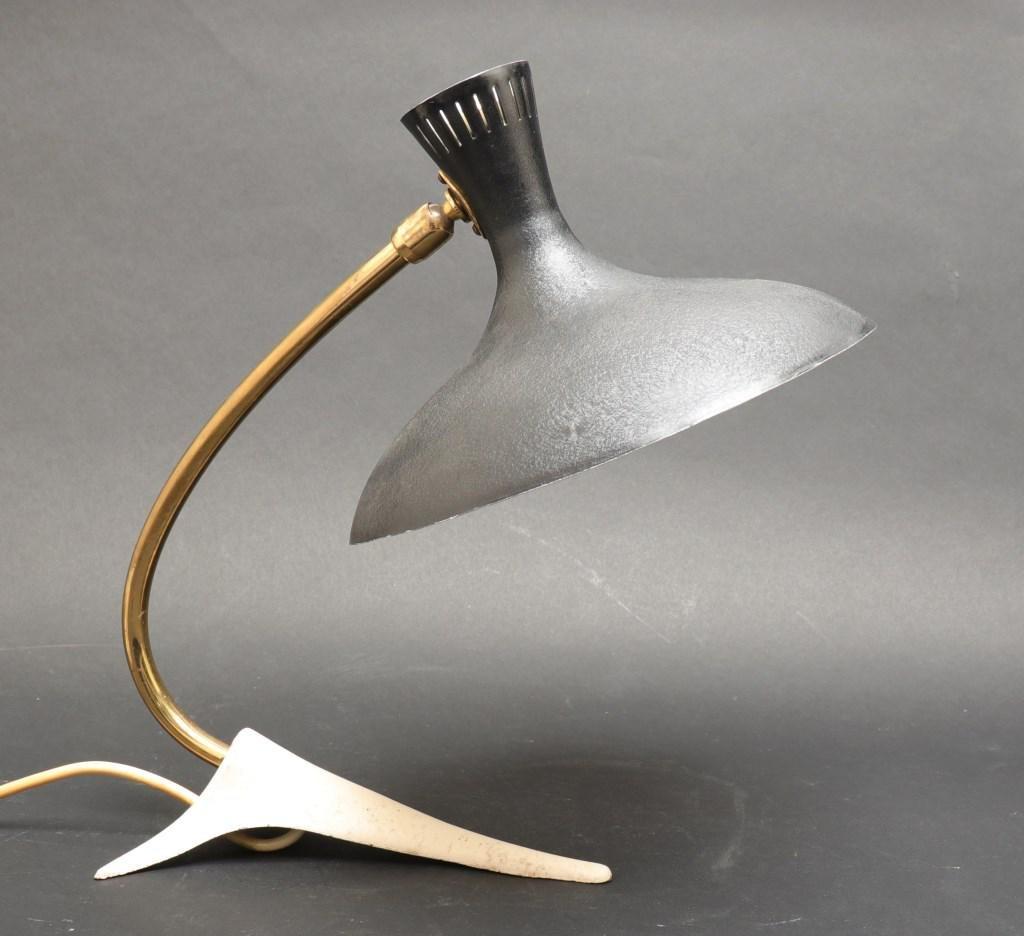 Mid-Century Modern Enamel & Steel Desk Lamp