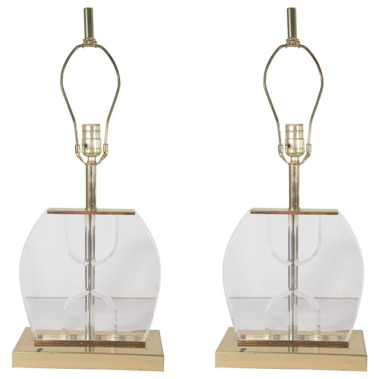 Modern Lucite & Brass Table Lamps, Pair
