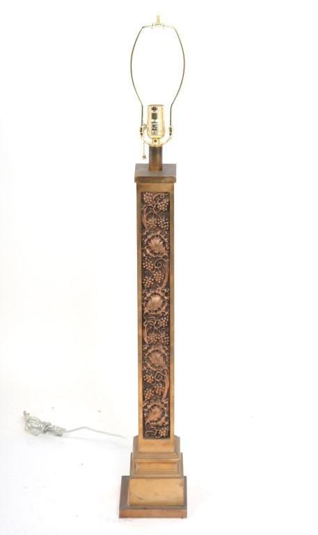 Bronze Square Columnar Lamp w Relief Grapevines