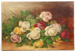 Illegibly Signed Still Life with Flowers Oil