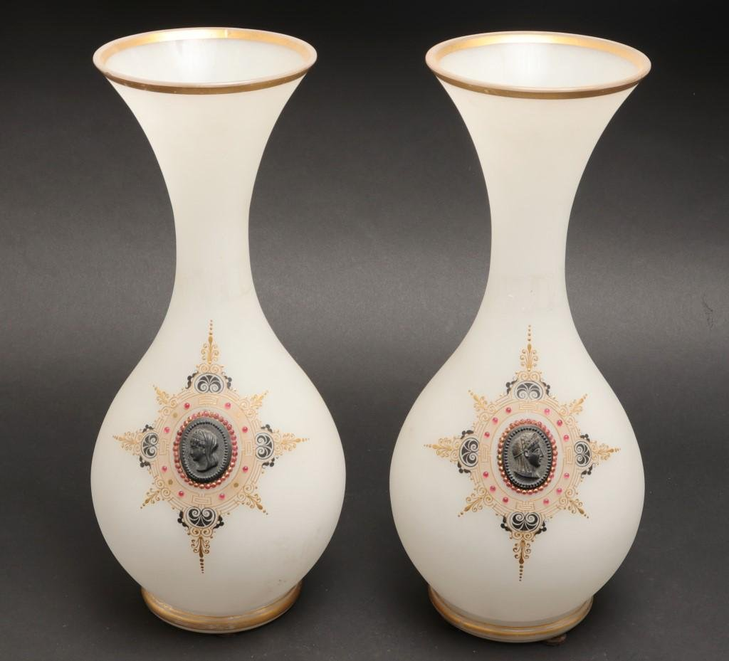 Opaline Glass Vases with Applied Cameos, Pair