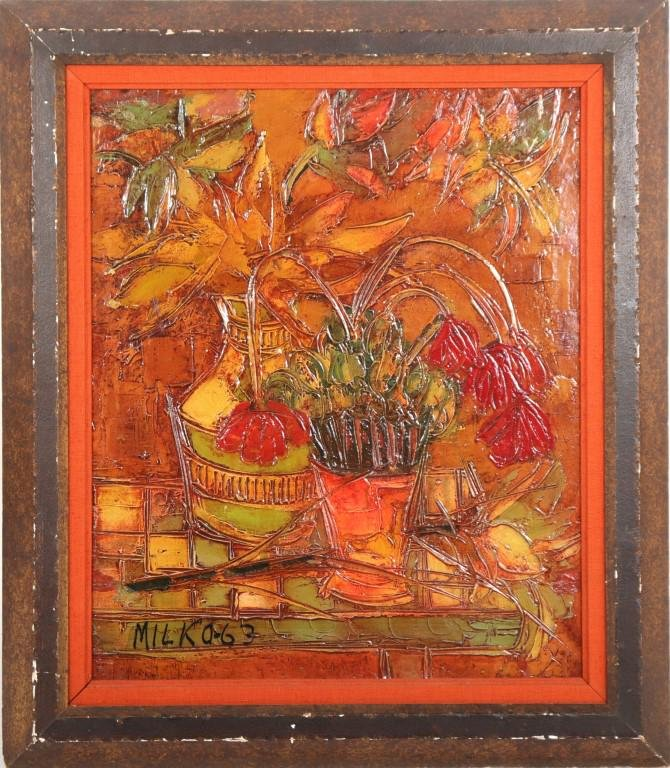Milko Bambic Still Life with Flowers Oil on Canvas