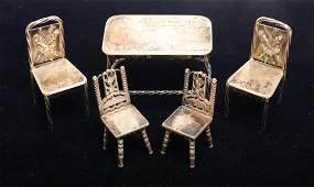 Sterling Silver Miniature Furniture, 5 Pcs.