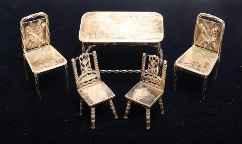 Sterling Silver Miniature Furniture, 5 Pcs.