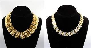Vintage Mid-Century Modern Gold-Tone Necklaces, 2