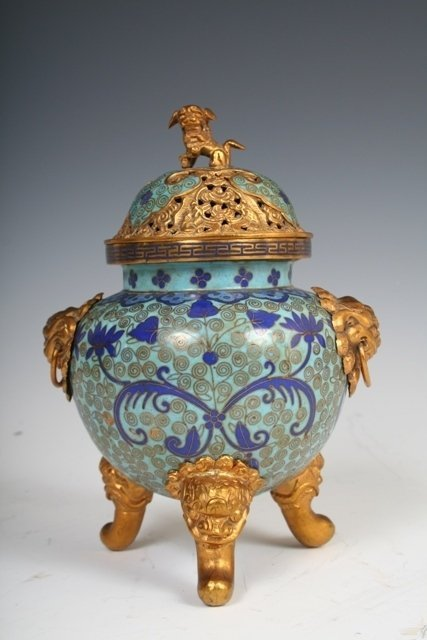 5: Late 19th-C Chinese Cloisonne Incense Burner