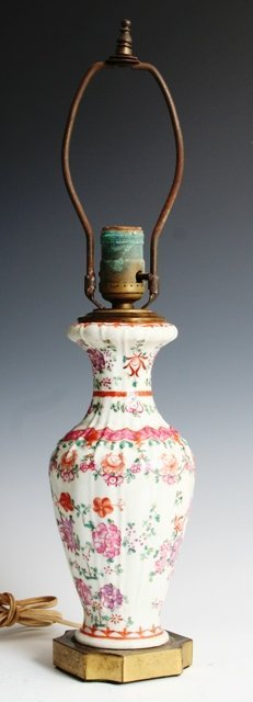 7: 19th-C Famille Rose Chinese Table Lamp