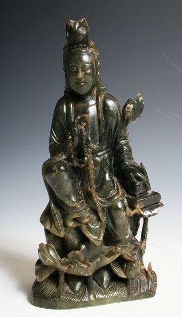 10: Early 20th C Chinese Jade Kwan Yin
