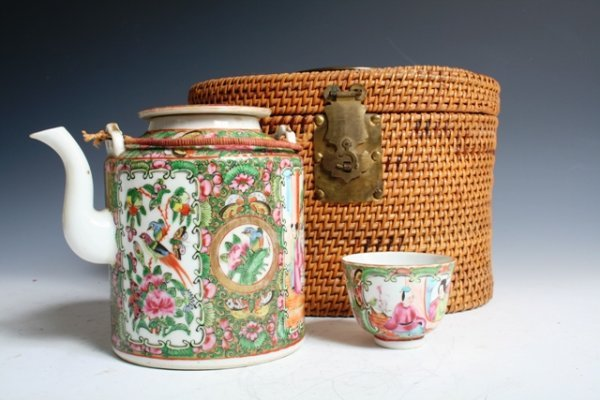 11: 19th C Chinese Rose Medallion Tea Pot & Cup