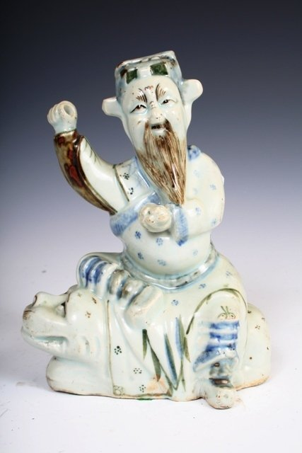 13: Chinese Early 20th C Porcelain Warrior Statue