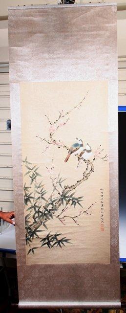 17: 19th-C Chinese Scroll of Bird among Bamboo