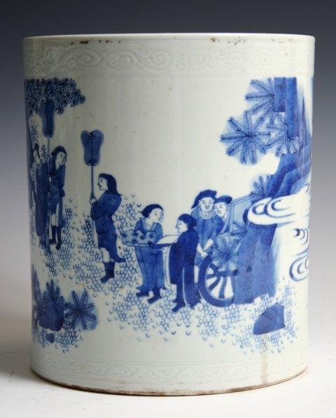 22: Chinese Porcelain Brush Pot w/Scrolling Rim Design