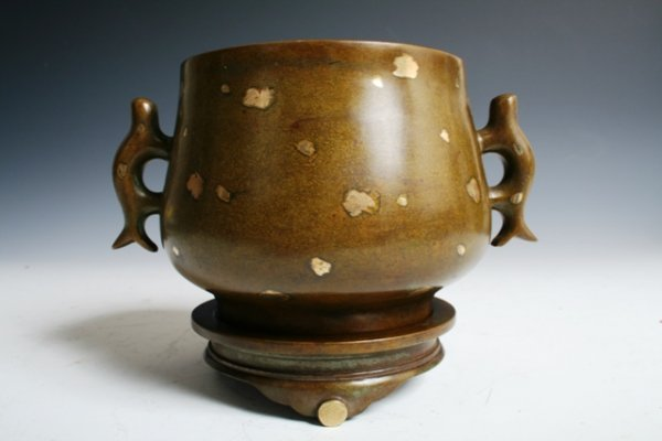 26: Chinese Bronze and Gold Incense Burner E 20th C