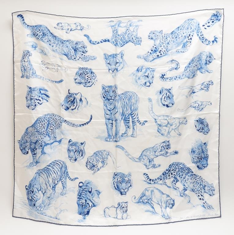 "Hermes ""Big Cats"" Blue & White Silk Scarf"