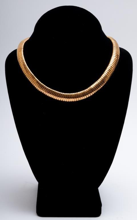 14K Yellow Gold Mid-Century Modern Choker Necklace