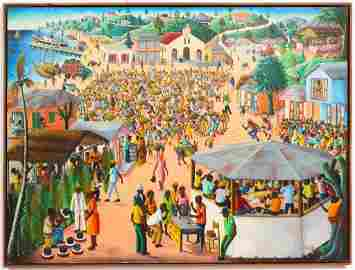 "Andre Normil ""Desafi"" Large Haitian Oil on Board"