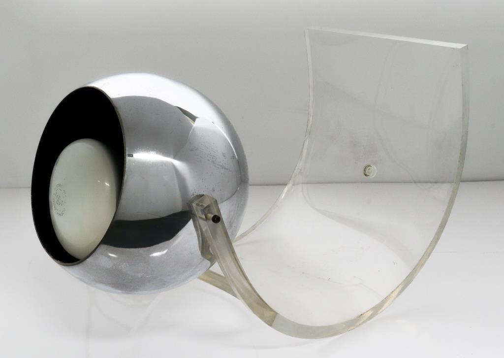 Mid-Century Modern Acrylic & Chrome Table Lamp