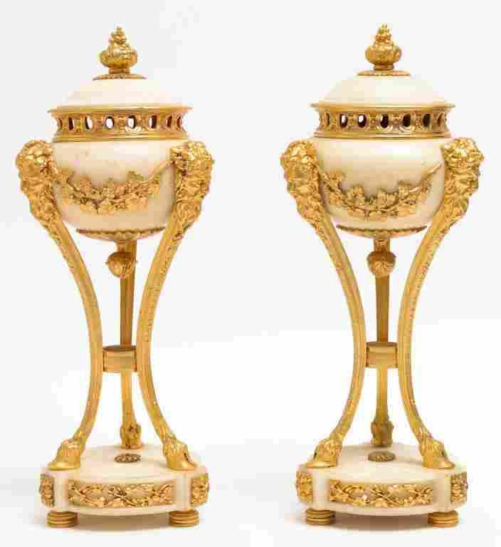 Neoclassical Alabaster & Gilt Bronze Mantel Urns