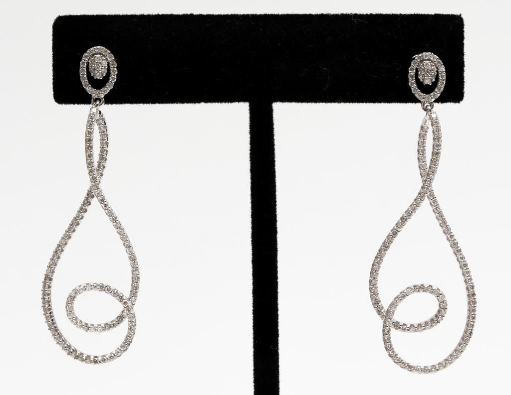 14K White Gold & Diamond Free Form Earrings