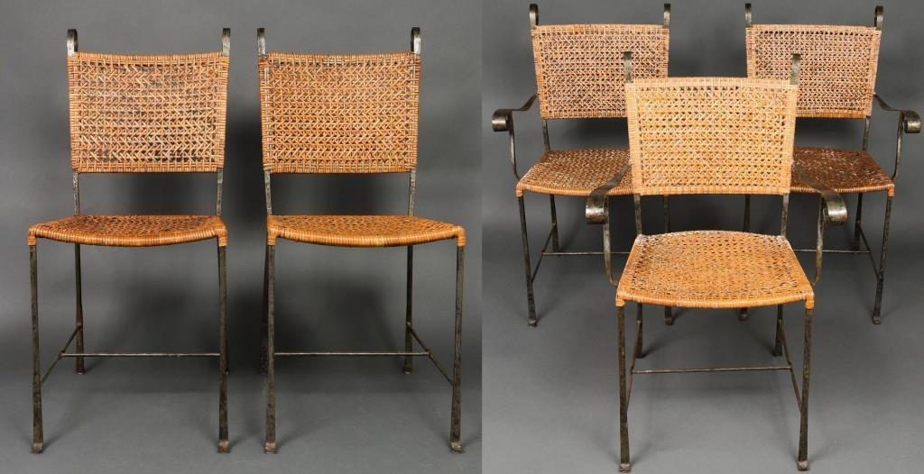Giacometti Manner Wrought Iron & Wicker Chairs, 5