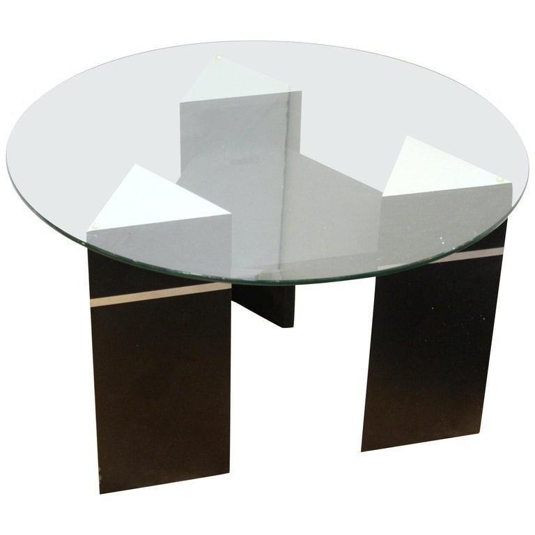 Postmodern Triangular Side Table w Round Glass Top