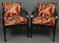MidCentury Modern Upholstered Armchairs Pair