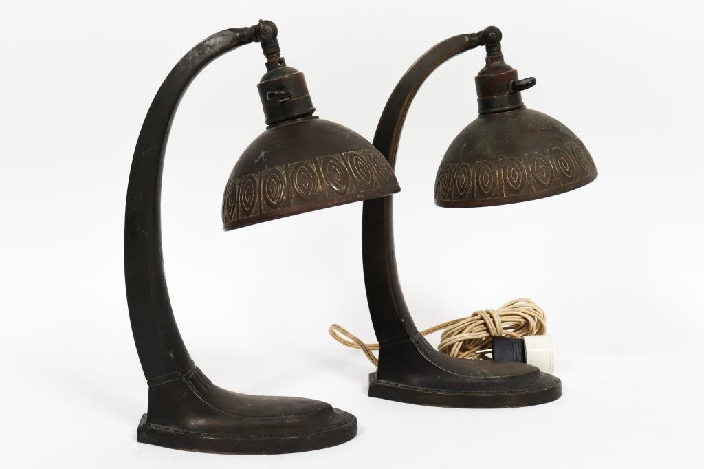Art Deco / Jugendstil Cast Metal Table Lamps, Pair