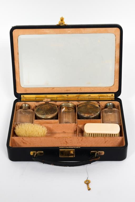 English Travel Vanity Box, Silver Lidded Jars