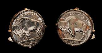 14K Yellow Gold & Silver US Buffalo Coin Cufflinks