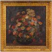 American School Still Life w Flowers Oil, 20th C.