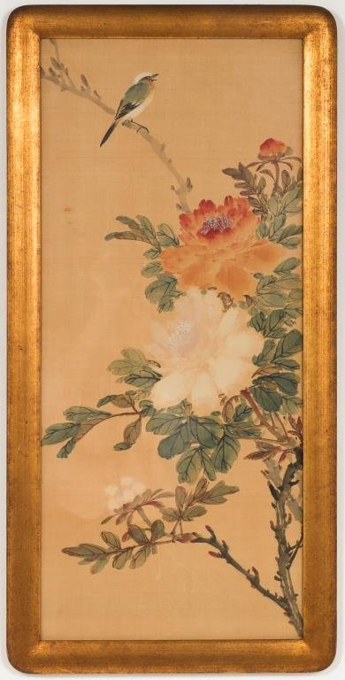 Chinese Flowers & Bird Painting on Silk