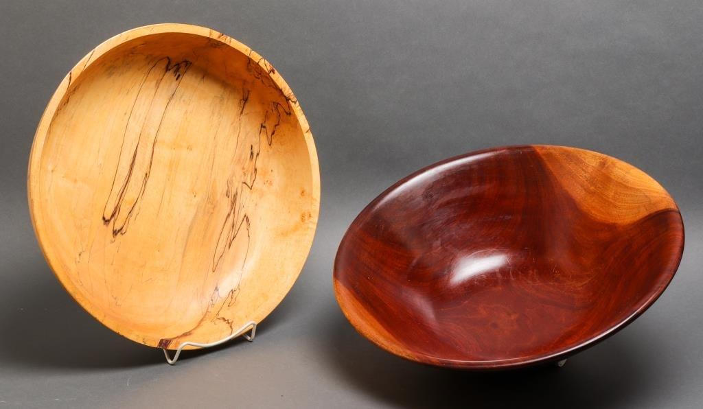 Large Turned Wood Bowls, 2