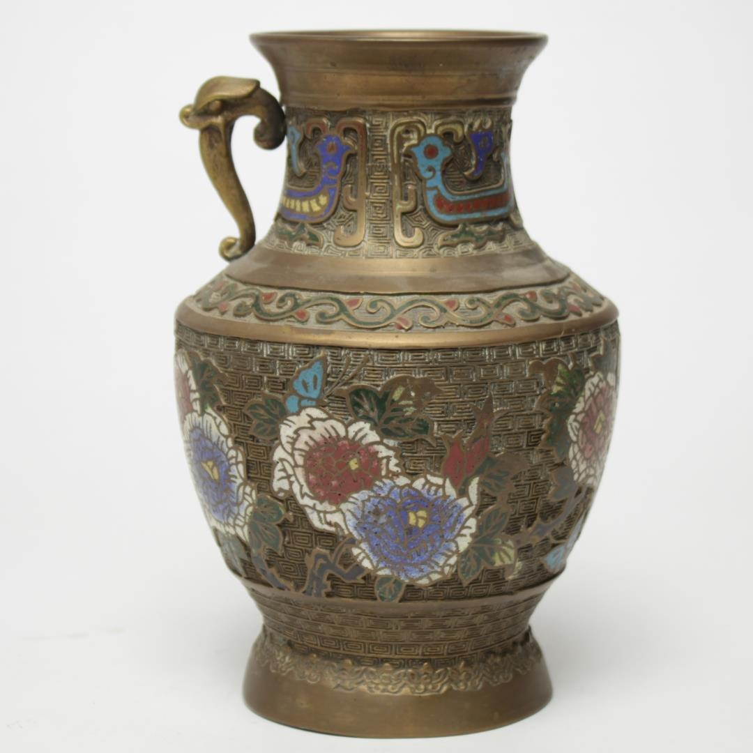 Japanese Bronze & Champleve Enamel Vase, c. 1920s