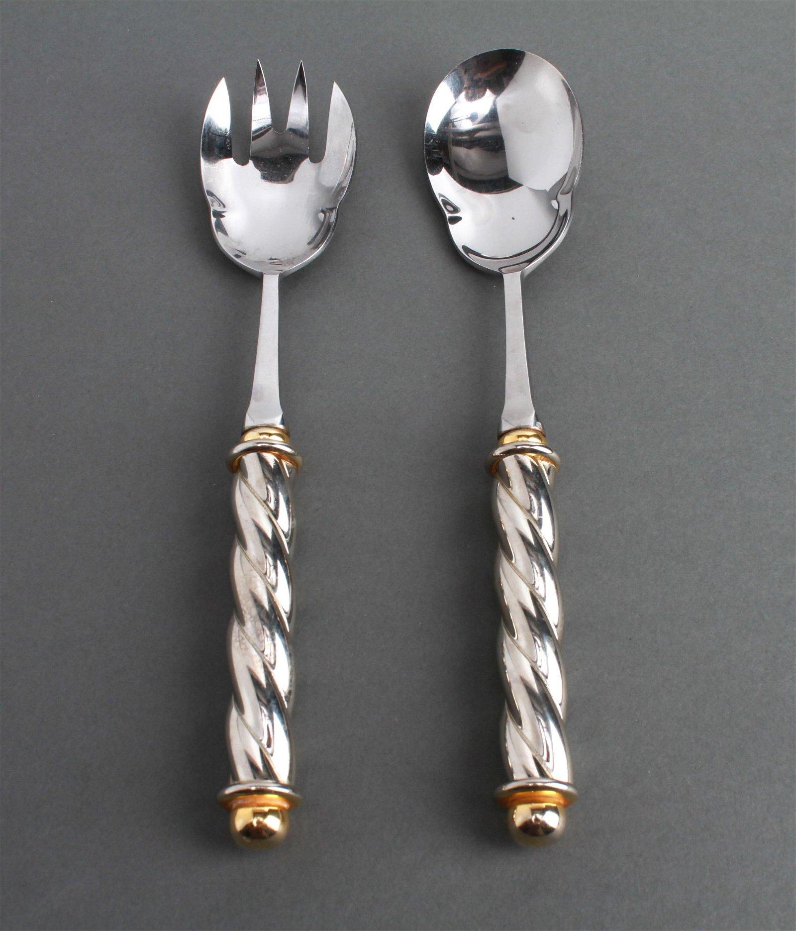 Silver Plate and Gilt Twist Salad Servers, Pr