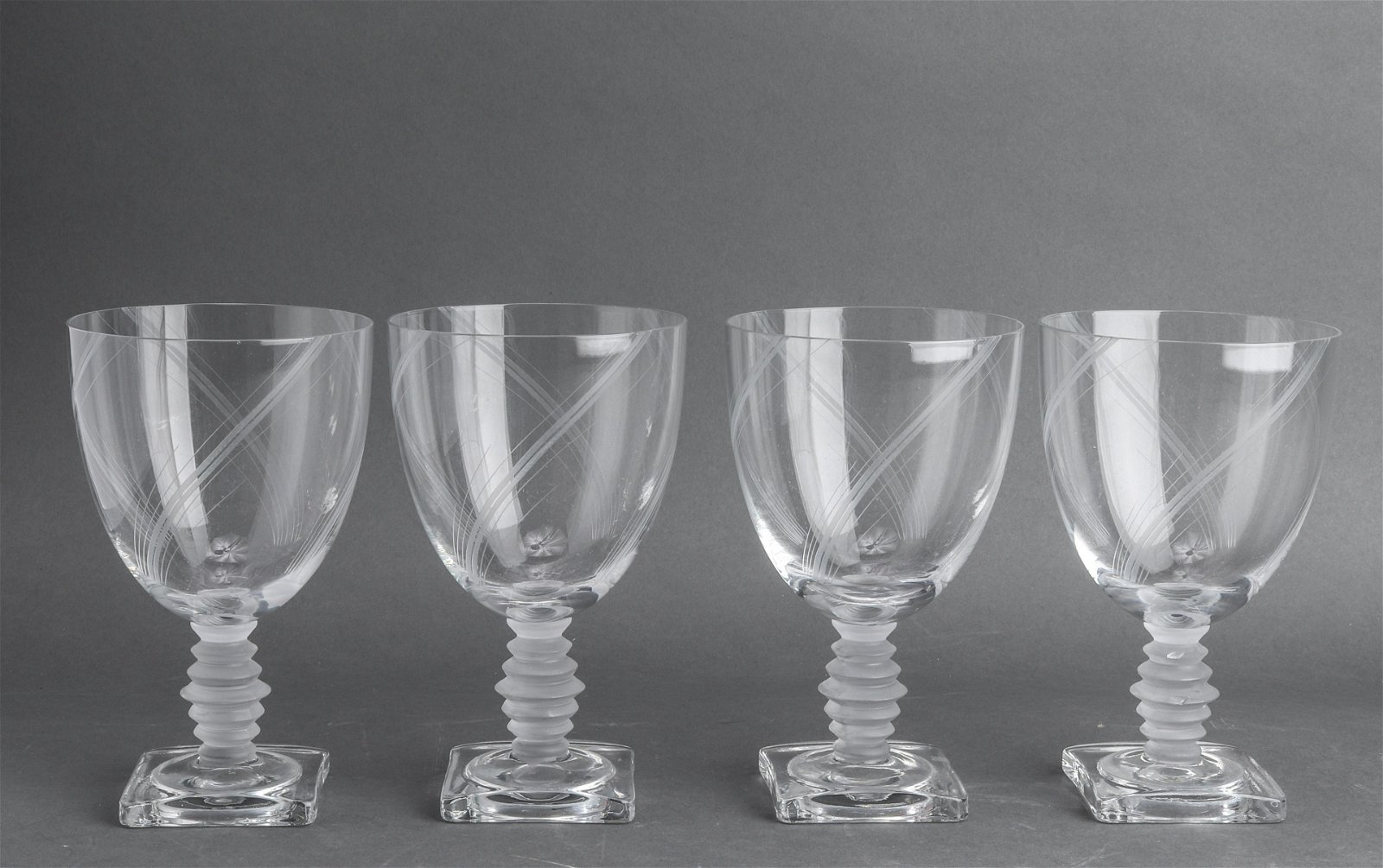 Lalique Manner Frosted Glass Wine Goblets, 4