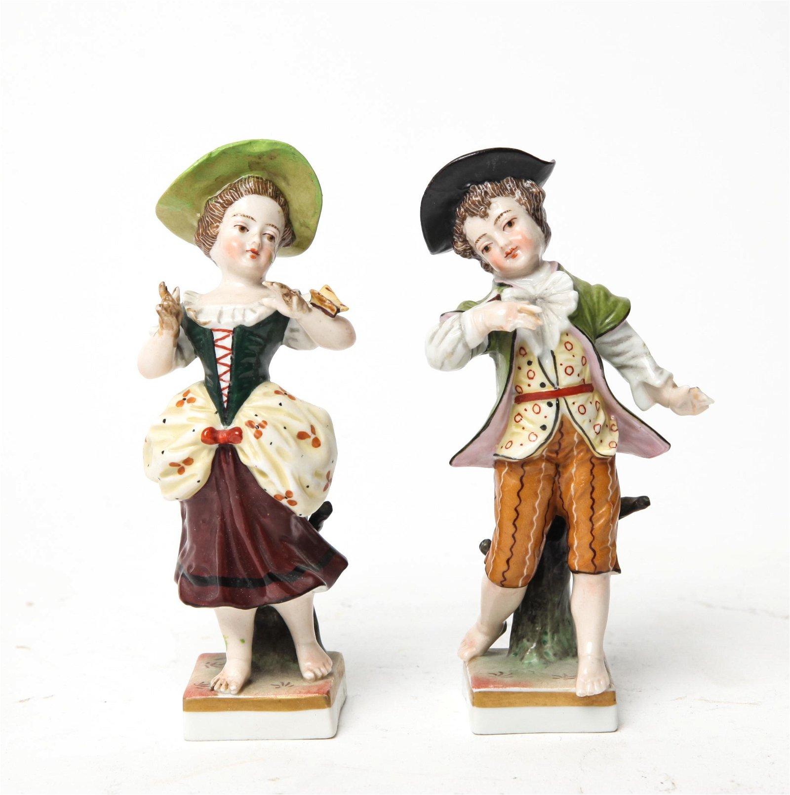 Meissen Manner Porcelain Figural Sculptures, 2