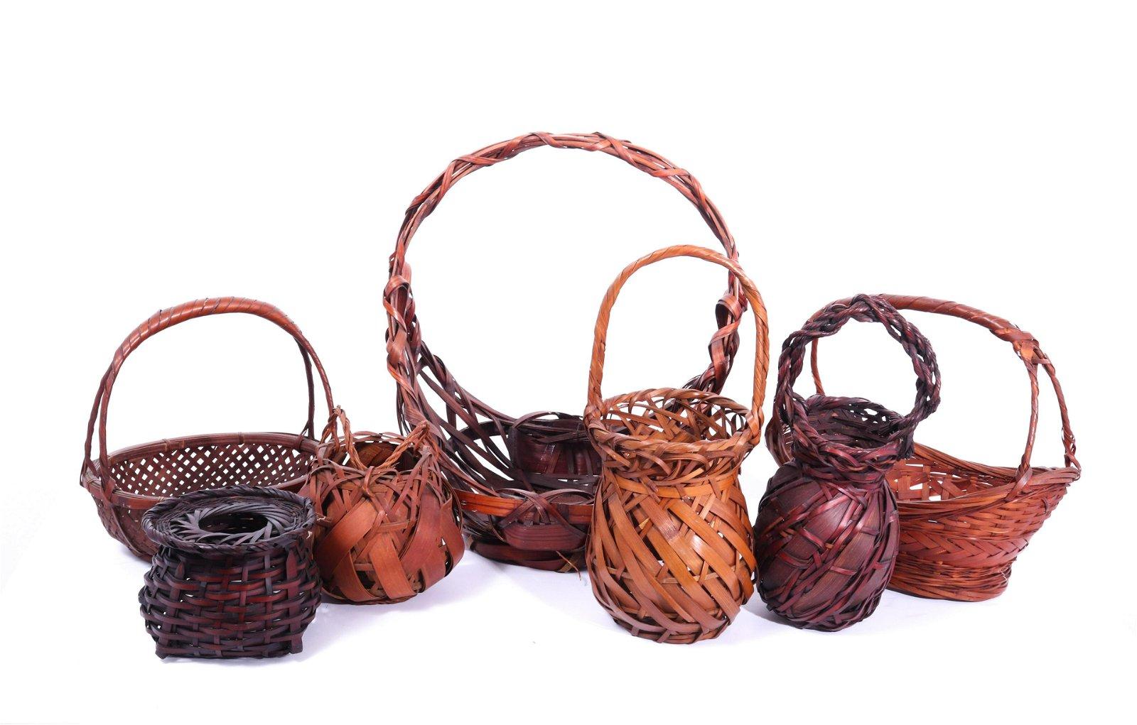 Japanese Woven Bamboo Ikebana Baskets, 7