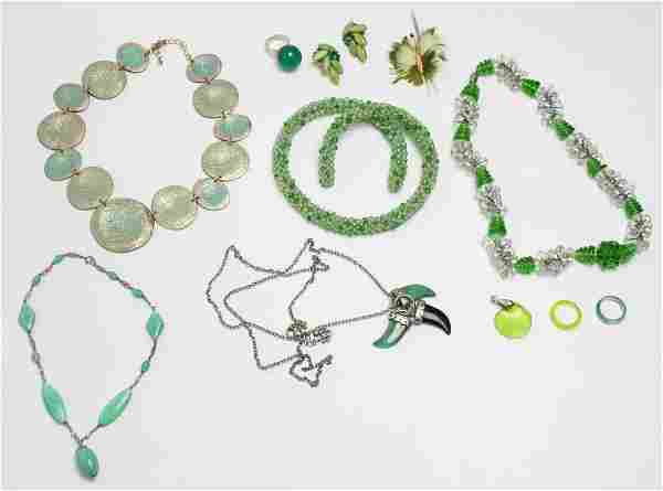 Costume Jewelry in Green Tones, 11 Pieces