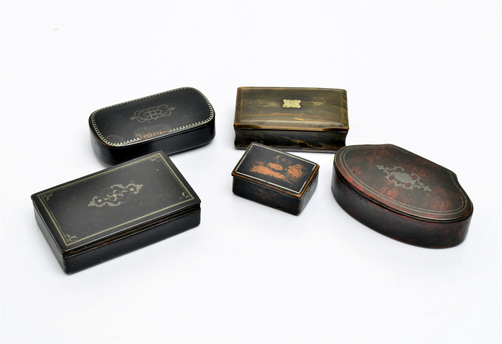 Antique Silver Inlaid Snuff Boxes, Group of 5