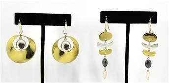 Robert Lee Morris 2 Pairs Silver  Brass Earrings