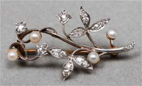 14K Yellow  White Gold Diamond  Pearl Brooch Pin