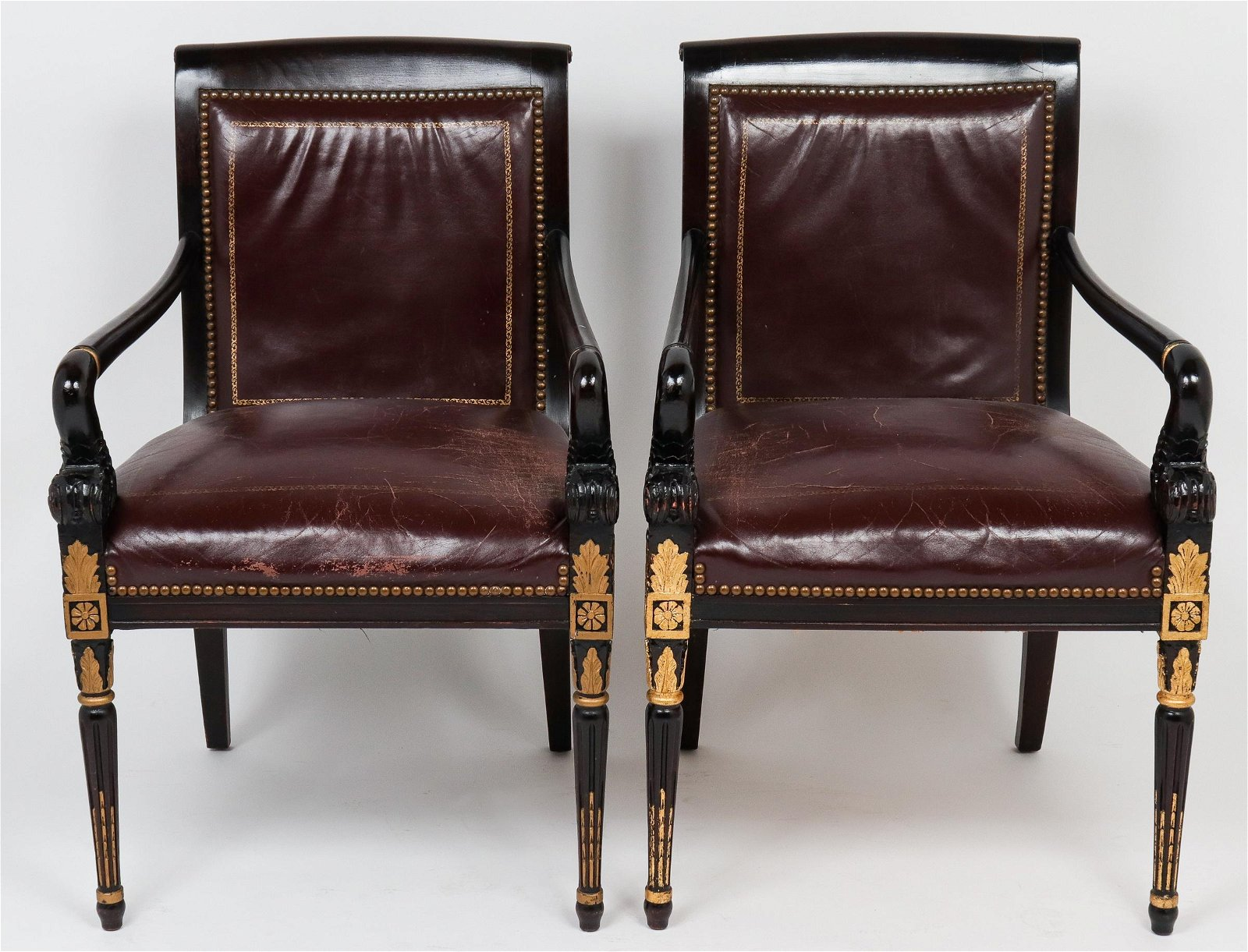 Empire Style Leather and Carved Wood Armchairs, Pr