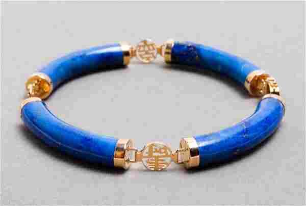 Chinese 14K Yellow Gold & Lapis Lazuli Bracelet
